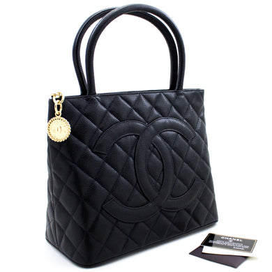 CHANEL Gold Medallion Caviar Shoulder Bag Tote Black u56 hannari-shop