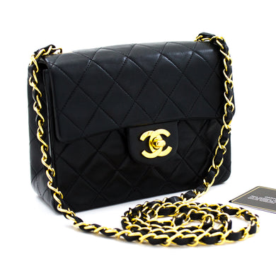 CHANEL Mini Square Small Chain Shoulder Bag Crossbody Black u44