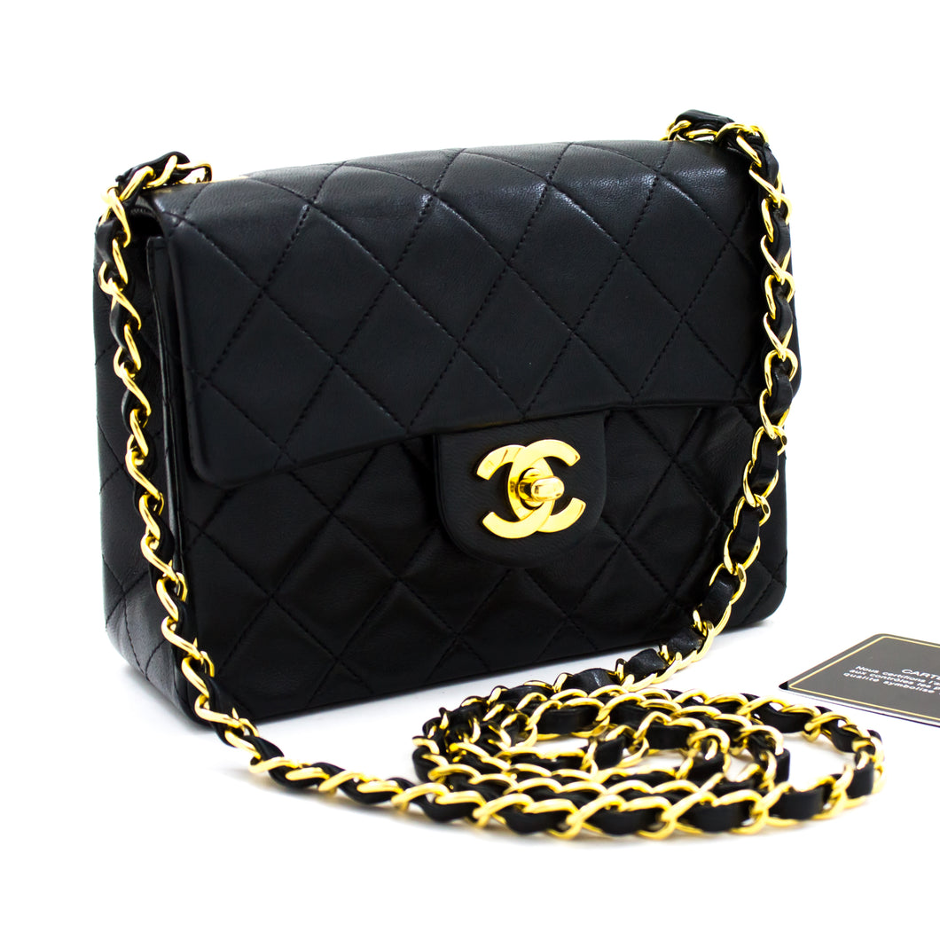 CHANEL Mini Square Small Chain Shoulder Bag Crossbody Black u44-hannari-shop