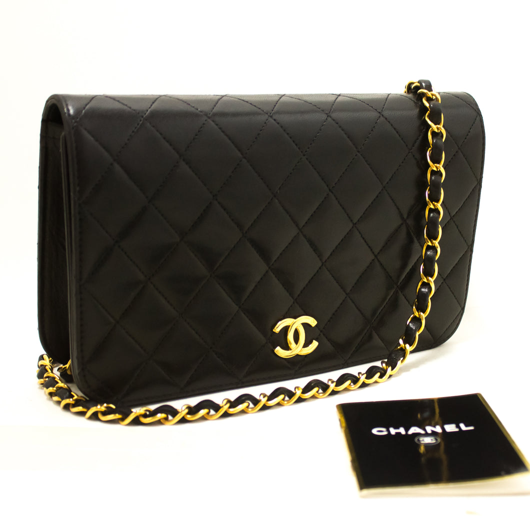 CHANEL Chain Shoulder Bag Clutch Black Quilted Flap Lambskin R82-Shoulder Bag-hannari-shop