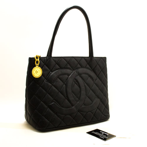 CHANEL Gold Medallion Caviar Shoulder Bag Shopping Tote Black R10