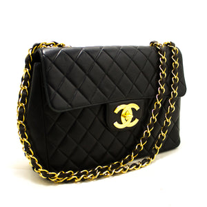 "CHANEL Jumbo 11"" Large Chain Shoulder Bag Flap Black Lambskin p80-Chanel-hannari-shop"