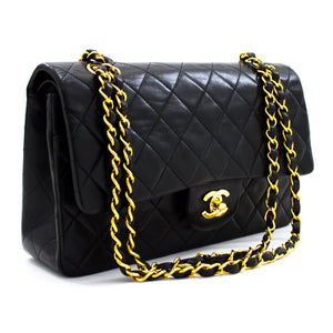 "CHANEL 2.55 Tiki Tuarua 10 ""Chain Shoulder Bag Black Lambskin u40"