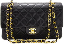 "CHANEL 2.55 Double Flap 10 ""Chain Bag Shoulder Bag Pelle di Agnellu Nera u40-hannari-shop"
