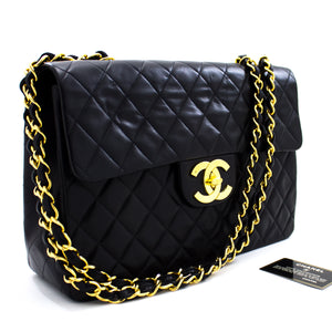 "CHANEL Jumbo 13"" Maxi 2.55 Flap Chain Shoulder Bag Black Lambskin t53-hannari-shop"