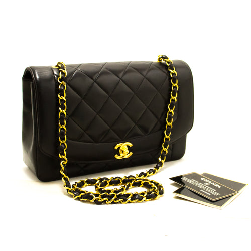 CHANEL Diana Flap Chain Shoulder Bag Crossbody Black Quilted Lamb Q28-Chanel-hannari-shop