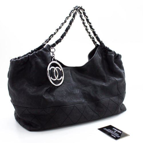 CHANEL Coco Cabas Calfskin Chain Bag tocking Black Black Quilted u74 hannari-shop