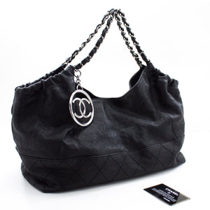 CHANEL Coco Cabas Calfskin Chain Shoulder Bag Black Quilted u74 hannari-shop