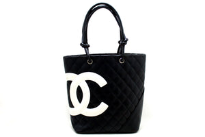 CHANEL Cambon Tote Small Shoulder Bag Black White Quilted Calfskin R09