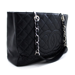 "CHANEL Caviar GST 13 ""Grand Shopping Tote Verižna Torba na ramenih Črna u45-hannari-shop"