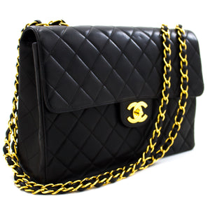 "CHANEL Jumbo 11"" Large Chain Shoulder Bag Flap Black Lambskin t54-hannari-shop"