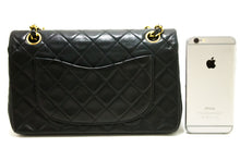"CHANEL 2.55 Double Flap 9"" Chain Shoulder Bag Black Quilted Lamb R74-Shoulder Bag-hannari-shop"