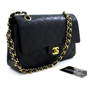 "CHANEL 2.55 Double Flap 10"" Chain Shoulder Bag Black Quilted Lamb t52-hannari-shop"