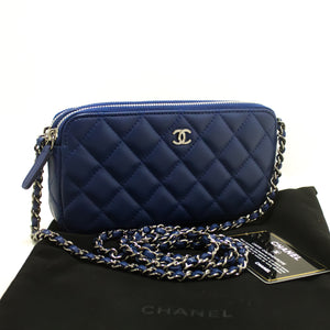 Never Used CHANEL Lamb Wallet On Chain WOC Zip Chain Shoulder bag n90