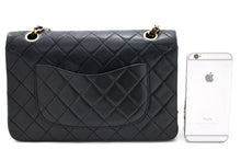 "CHANEL 2.55 Double Flap 10 ""Chain Shoulder Bag Μαύρο καπιτονέ αρνί t52-hannari-shop"