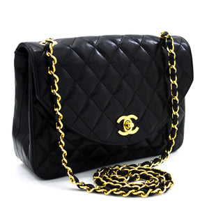 CHANEL Half Moon Chain Shoulder Bag Crossbody Black Quilted Flap x16 hannari-shop
