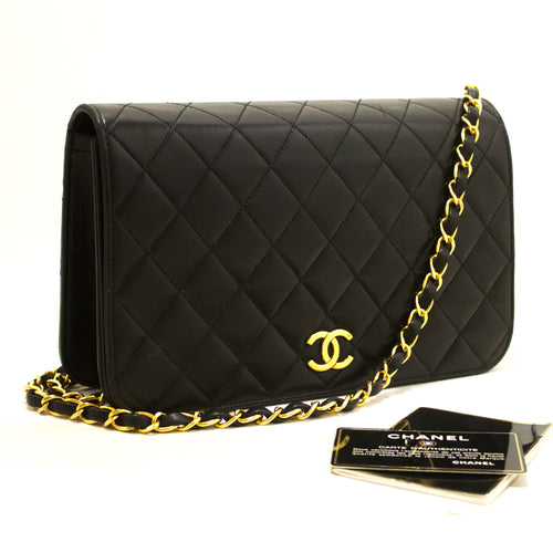 CHANEL Chain Shoulder Bag Clutch Black Quilted Flap Lambskin Purse R77-Shoulder Bag-hannari-shop