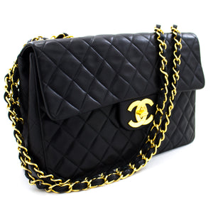 "CHANEL Jumbo 13"" Maxi 2.55 Flap Chain Shoulder Bag Black Lambskin t51"