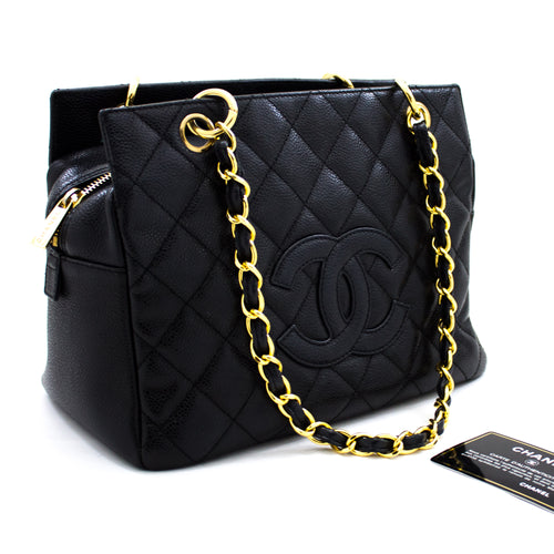 CHANEL Caviar Chain Shoulder Bag Shopping Tote Black Quilted Purse x15 hannari-shop