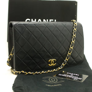 CHANEL Chain Shoulder Bag Clutch Black Quilted Flap Lambskin p68