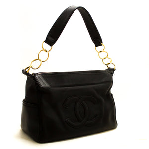 CHANEL Caviar Chain Shoulder Bag Black Leather Gold Zipper R85-Shoulder Bag-hannari-shop