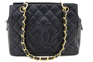 CHANEL Caviar Chain Shoulder Bag Koko Tole Black Quilted Purse x15 hannari-shop