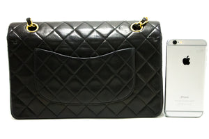 "CHANEL 2.55 Double Flap 10"" Chain Shoulder Bag Black Quilted Lamb R27-Chanel-hannari-shop"