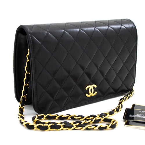 CHANEL Chain Shoulder Bag Clutch Black Quilted Flap Lambskin Purse t55