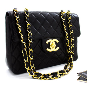 "CHANEL Jumbo 11"" Large Chain Shoulder Bag Flap Black Lambskin x20 hannari-shop"