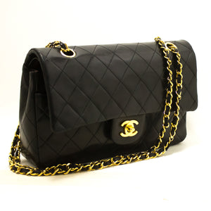 "CHANEL 2.55 Double Flap 10"" Chain Shoulder Bag Black Quilted Lamb R83-Shoulder Bag-hannari-shop"