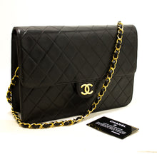 CHANEL Chain Shoulder Bag Clutch Black Quilted Flap Lambskin R07