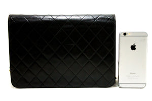 CHANEL Chain Shoulder Bag Clutch Black Quilted Flap Lambskin R07-Chanel-hannari-shop
