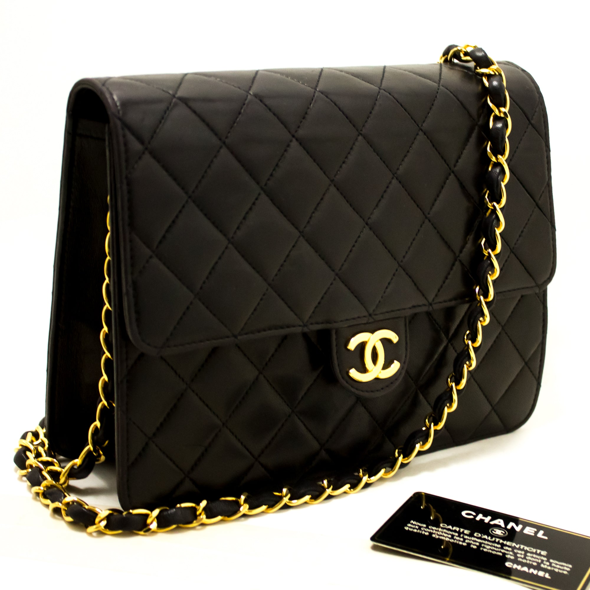 503697c9c6b533 ... CHANEL Small Chain Shoulder Bag Clutch Black Quilted Flap Lambskin  Q47-nel-hannari- ...