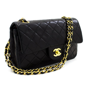 "CHANEL 2.55 Double Flap 9"" Chain Shoulder Bag Black Quilted Lamb t44-hannari-shop"