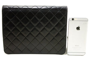 CHANEL Small Chain Shoulder Bag Clutch Black Quilted Flap Lambskin Q47