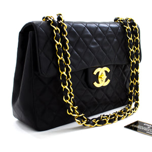 "CHANEL Jumbo 13"" Maxi 2.55 Flap Chain Shoulder Bag Black Lambskin x17 hannari-shop"