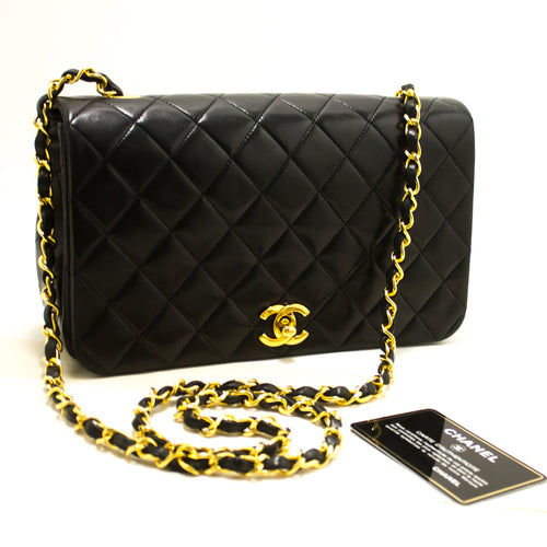 CHANEL Chain Shoulder Bag Crossbody Black Quilted Flap Lambskin R70