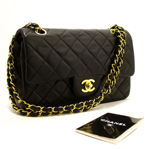 "CHANEL 2.55 Double Flap 9"" Chain Shoulder Bag Black Lambskin R29-Chanel-hannari-shop"