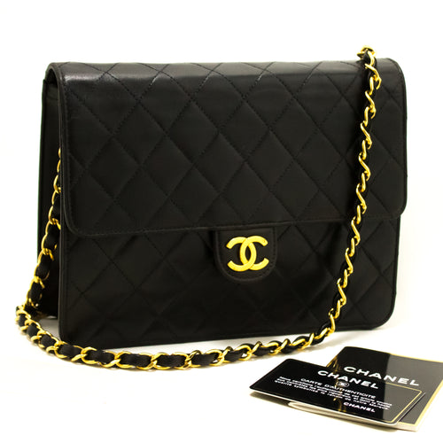 CHANEL Small Chain Shoulder Bag Clutch Black Quilted Flap Lambskin Q38