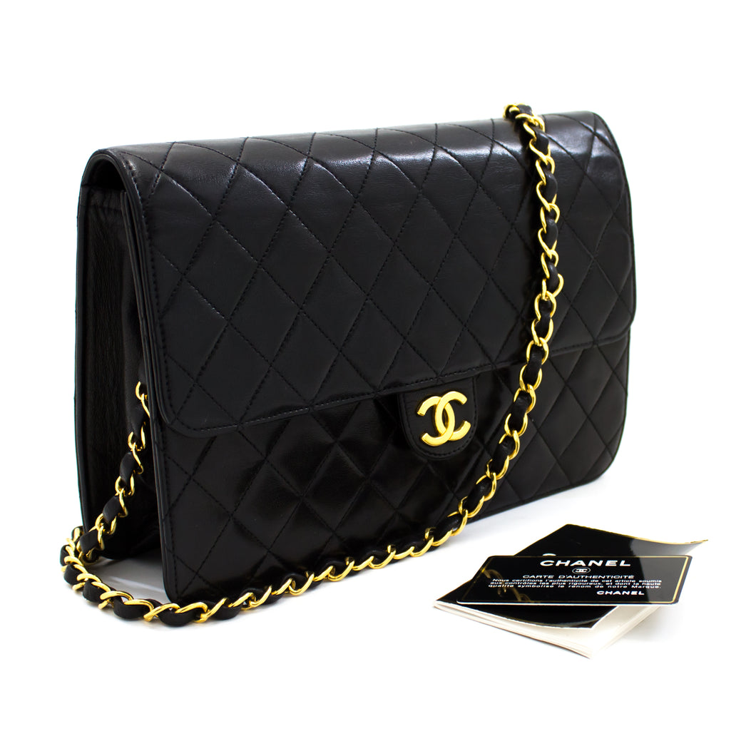 CHANEL Chain Shoulder Bag Clutch Black Quilted Flap Lambskin t45-hannari-shop