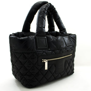 CHANEL Coco Cocoon Nylon Tote Bag Handbag Black Бордо чарм u55 hannari-мағозаи