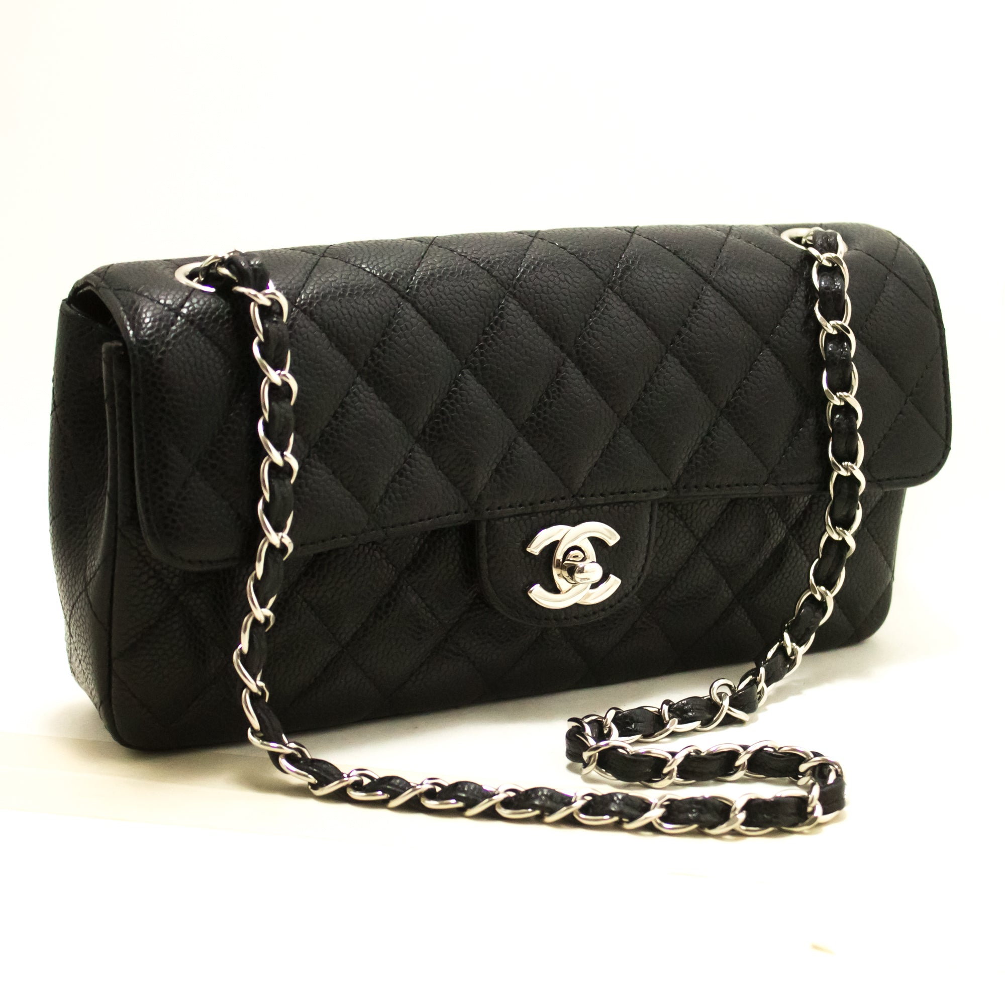 516a05a49cad58 ... CHANEL Caviar Chain Shoulder Bag Black Quilted Single Flap Leather  R67-Shoulder Bag-hannari ...