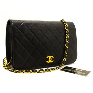 CHANEL Chain Shoulder Bag Clutch Black Quilted Flap Lambskin p62