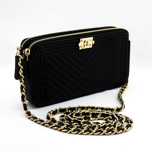 CHANEL Boy V-Stitch Black Caviar Black Wallet On Chain Doube Zip x18 hannari-shop