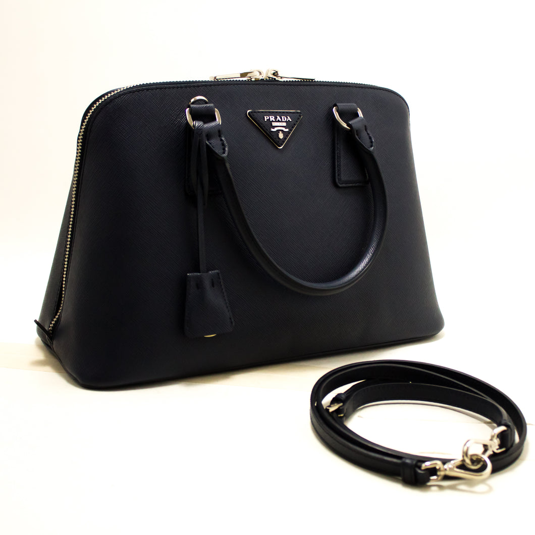 PRADA Saffiano Lux Handbag Shoulder Bag Navy Leather Strap Silver R25-Prada-hannari-shop