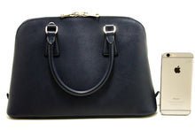 PRADA Saffiano Lux Handbag Shoulder Bag Navy Leather Strap Silver R25
