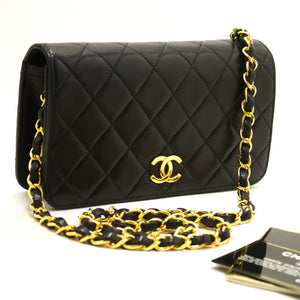 CHANEL Small Chain Shoulder Bag Clutch Black Quilted Flap Lambskin R71