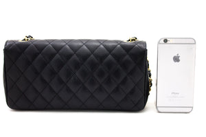 CHANEL Caviar Chain Shoulder Bag Black Quilted Single Flap Leather s83-hannari-shop