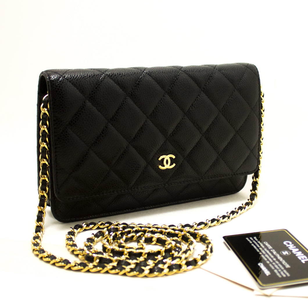 CHANEL Caviar Wallet On Chain WOC Black Shoulder Bag Crossbody R66