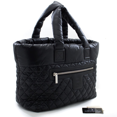 CHANEL Coco Cocoon Big Big Nylon Tote Bagb Handbag Black Бордо u53 hannari-мағозаи